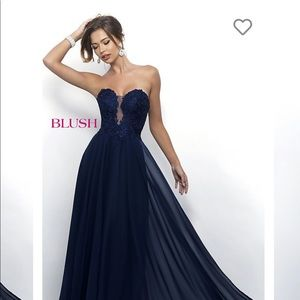Navy Strapless Gown By Blush 4